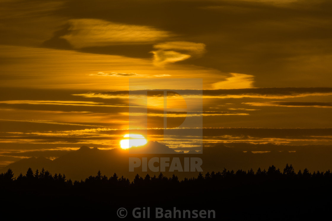 """Sunset over the Olympic Peninsula"" stock image"