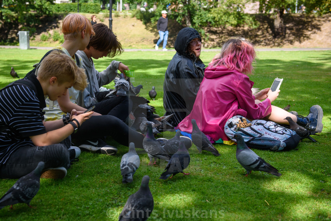 """Group of youth feeds pigeons at park. Riga, Latvia."" stock image"