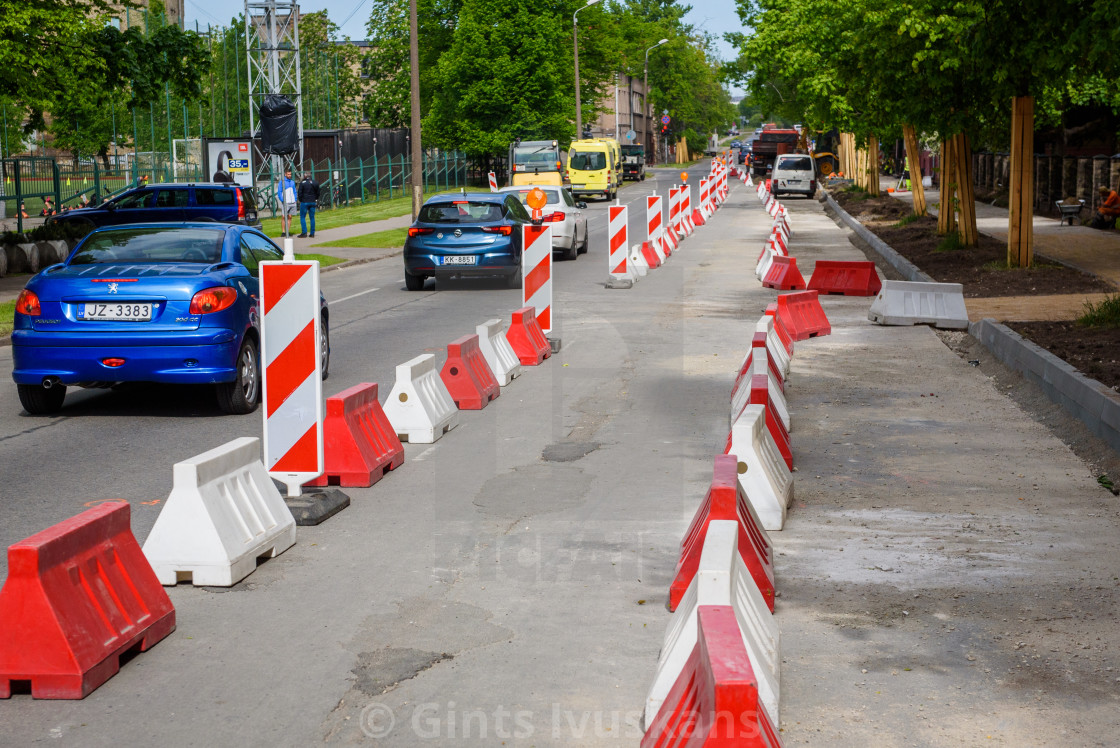 """Barries and cones on the street, during road repair. Riga, Latvia."" stock image"