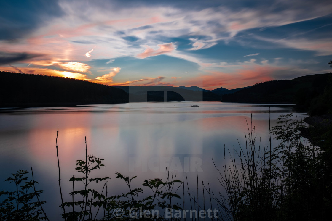 """Sunset over the reservoir"" stock image"