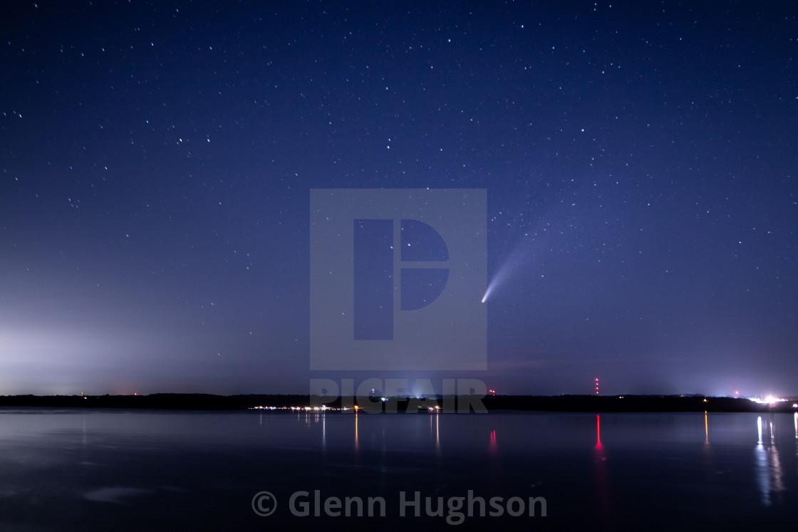 """""""Comet C/2020 F3 NEOWISE over Lawrence, Kansas"""" stock image"""