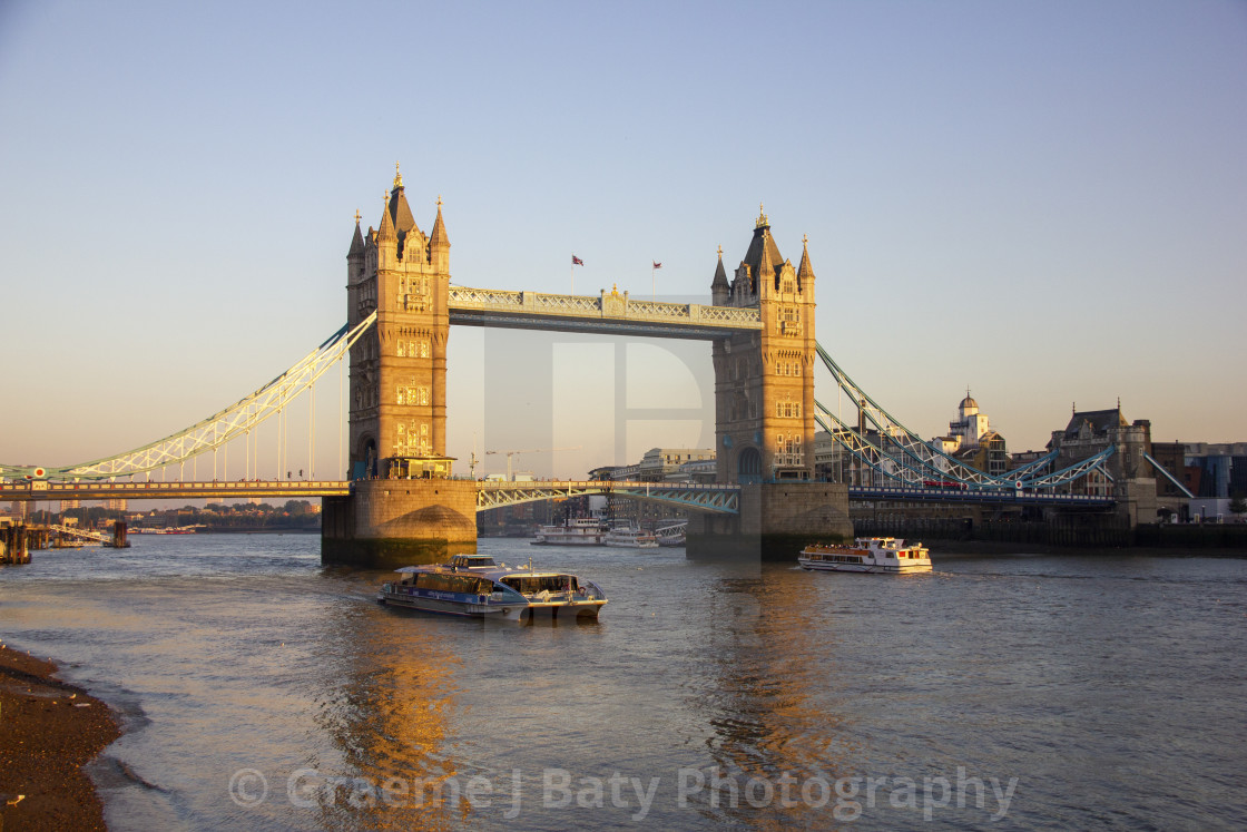 """London Tower Bridge at dusk"" stock image"