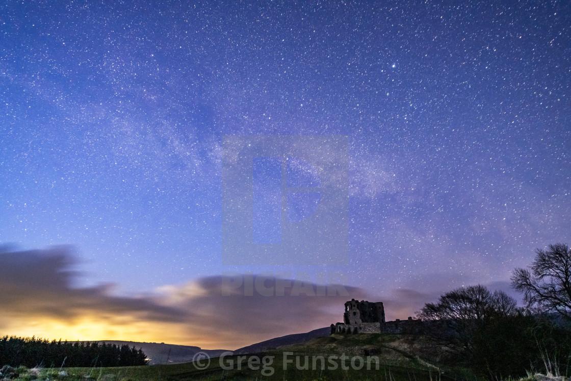 """Starscape over castle ruins"" stock image"