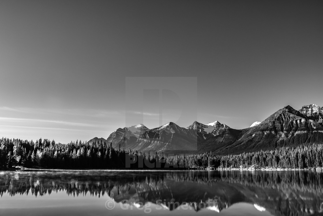 """Clear day in the mountains in monochrome"" stock image"