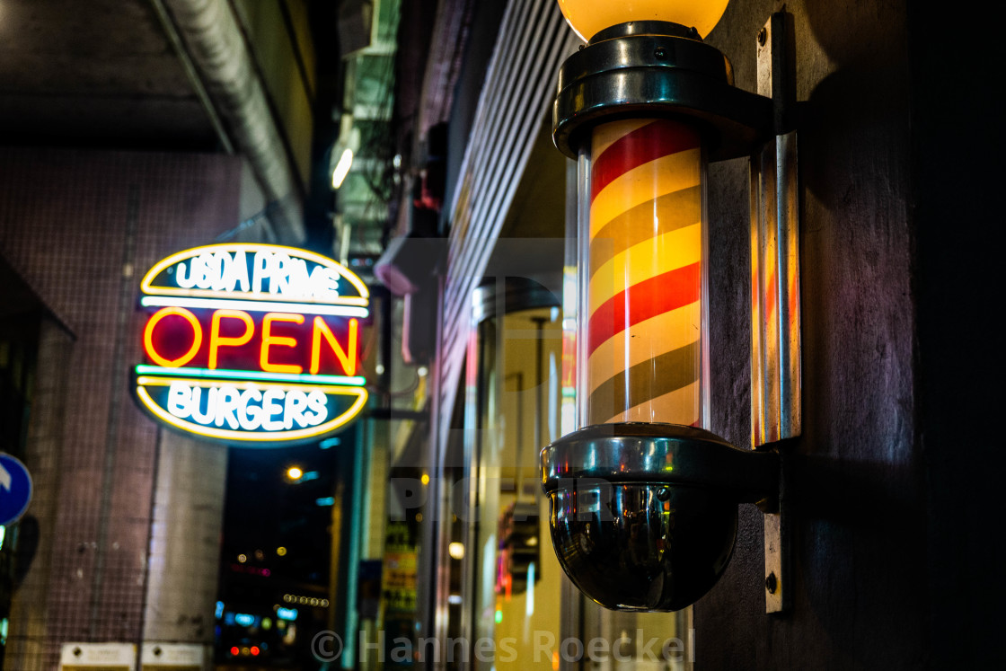 """""""Burger shop at night"""" stock image"""