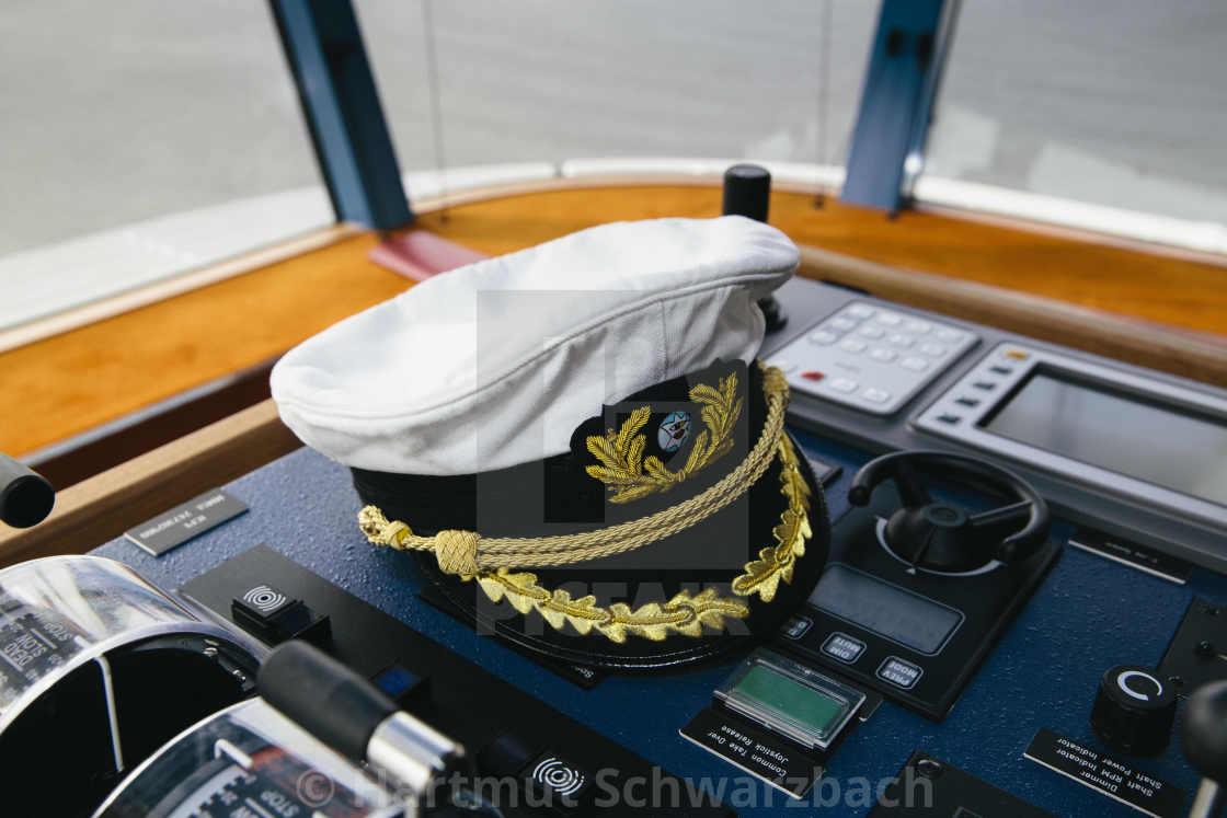 """cap of the captain of AIDA Cruise Ship"" stock image"