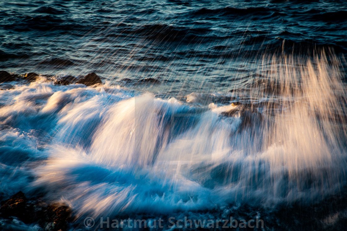 """""""Rocks, Waves and Water at Nisyros, Insel der Dodekanes"""" stock image"""