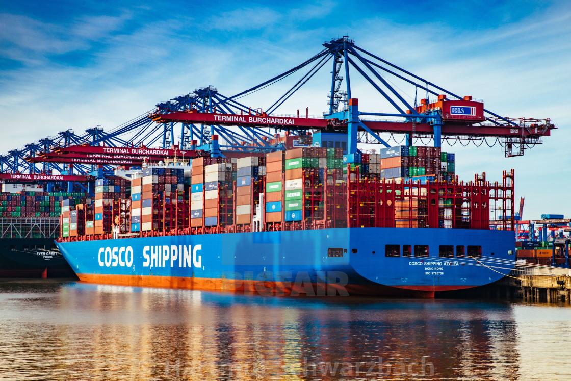 """Containerschiffe am Burchardkai"" stock image"