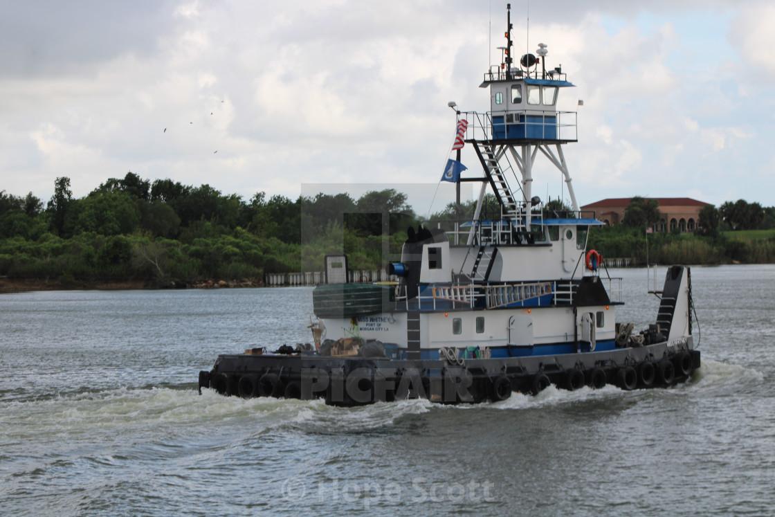 """Small vessel in Port of port Arthur"" stock image"