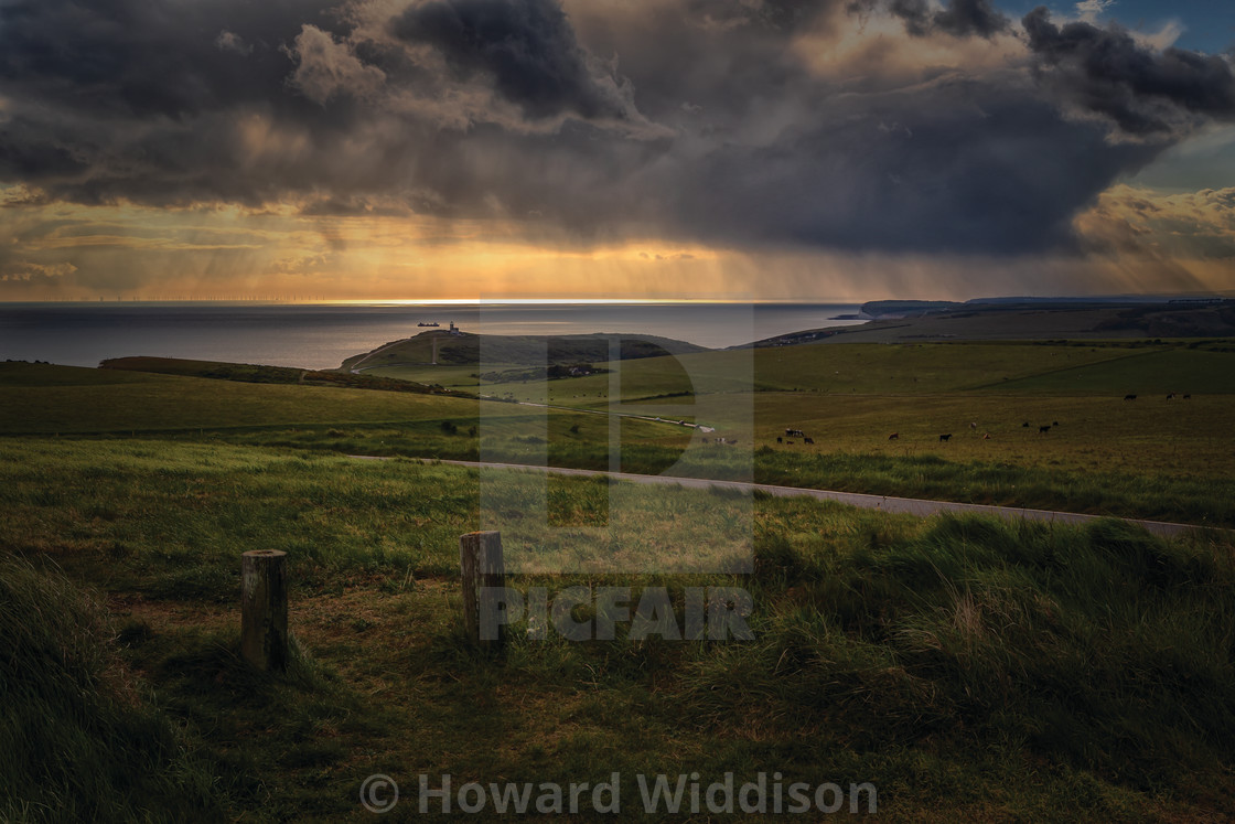 """Rain clouds over Belle Tout lighthouse"" stock image"