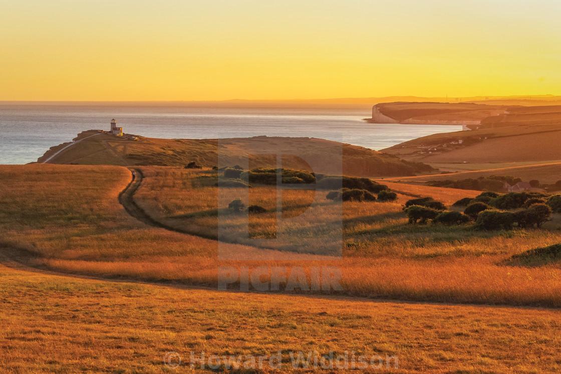 """""""Golden light over Belle Tout lighthouse"""" stock image"""