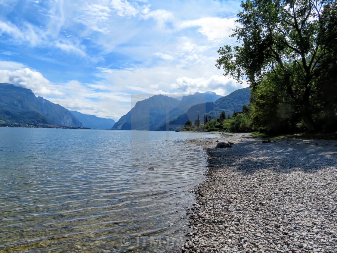"""Private lakside beach Lake Como"" stock image"