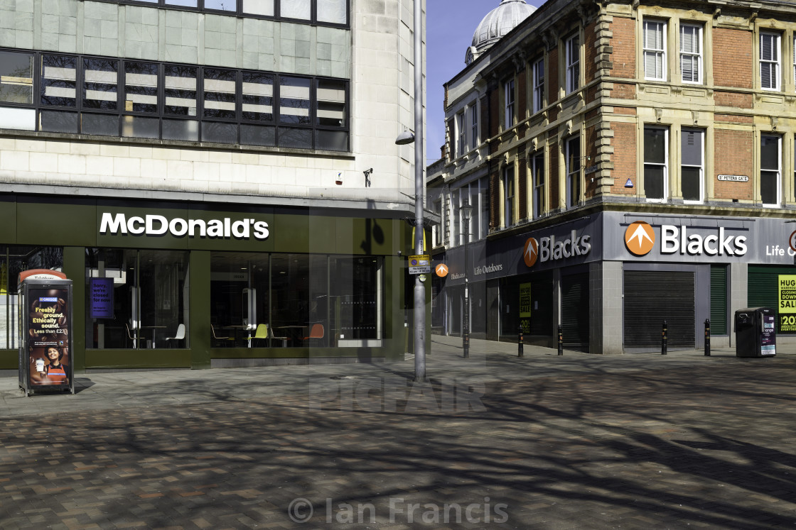 """Coronavirus Lockdown Empty Streets Nottingham,UK."" stock image"