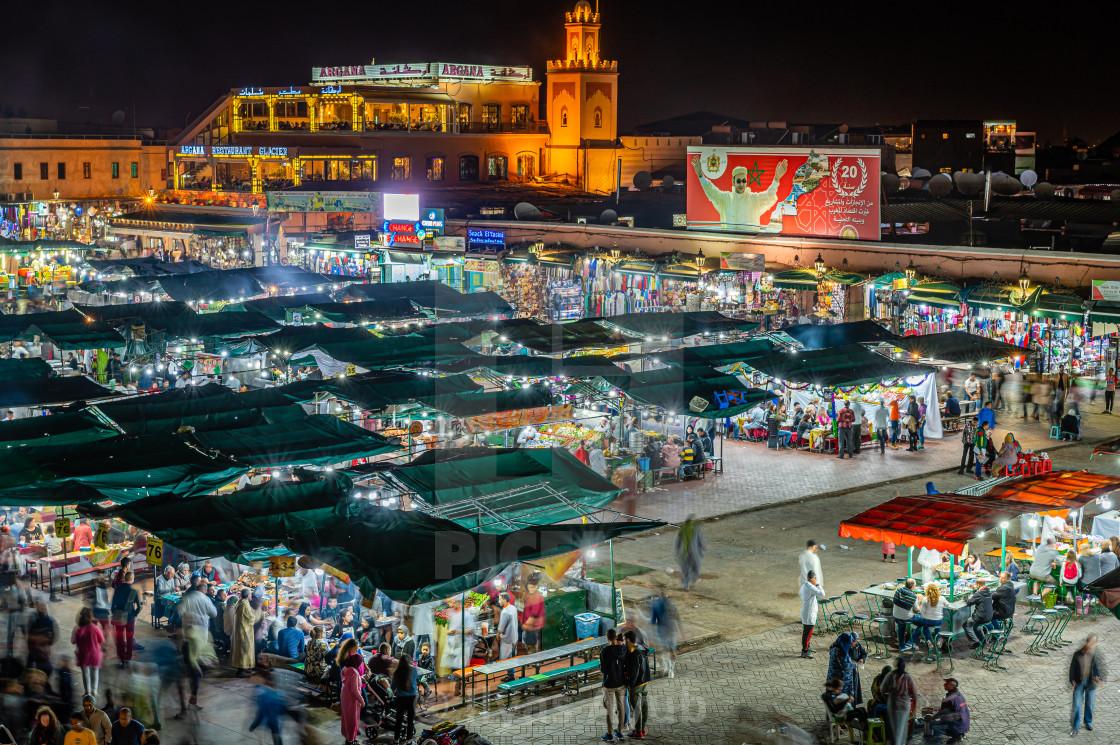 """Jemaa el Fna Square at night, Marrakesh. Morocco"" stock image"