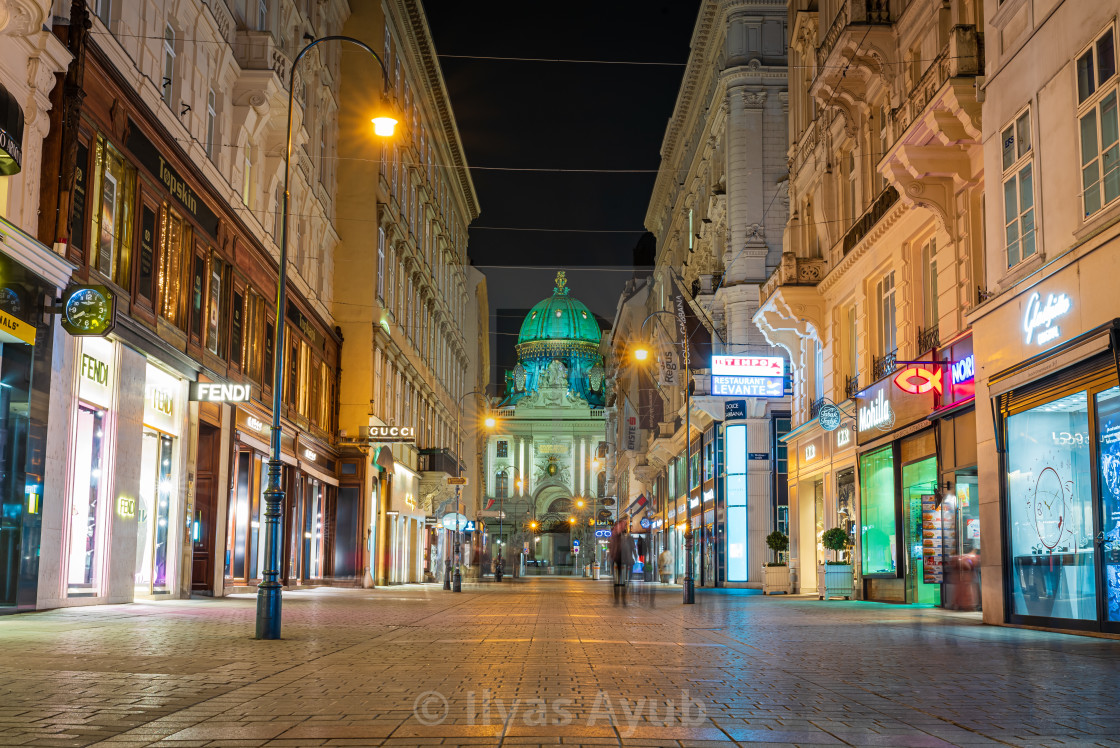 """""""View of the Hofburg Palace from the Kohlmarkt, Vienna, Austria"""" stock image"""