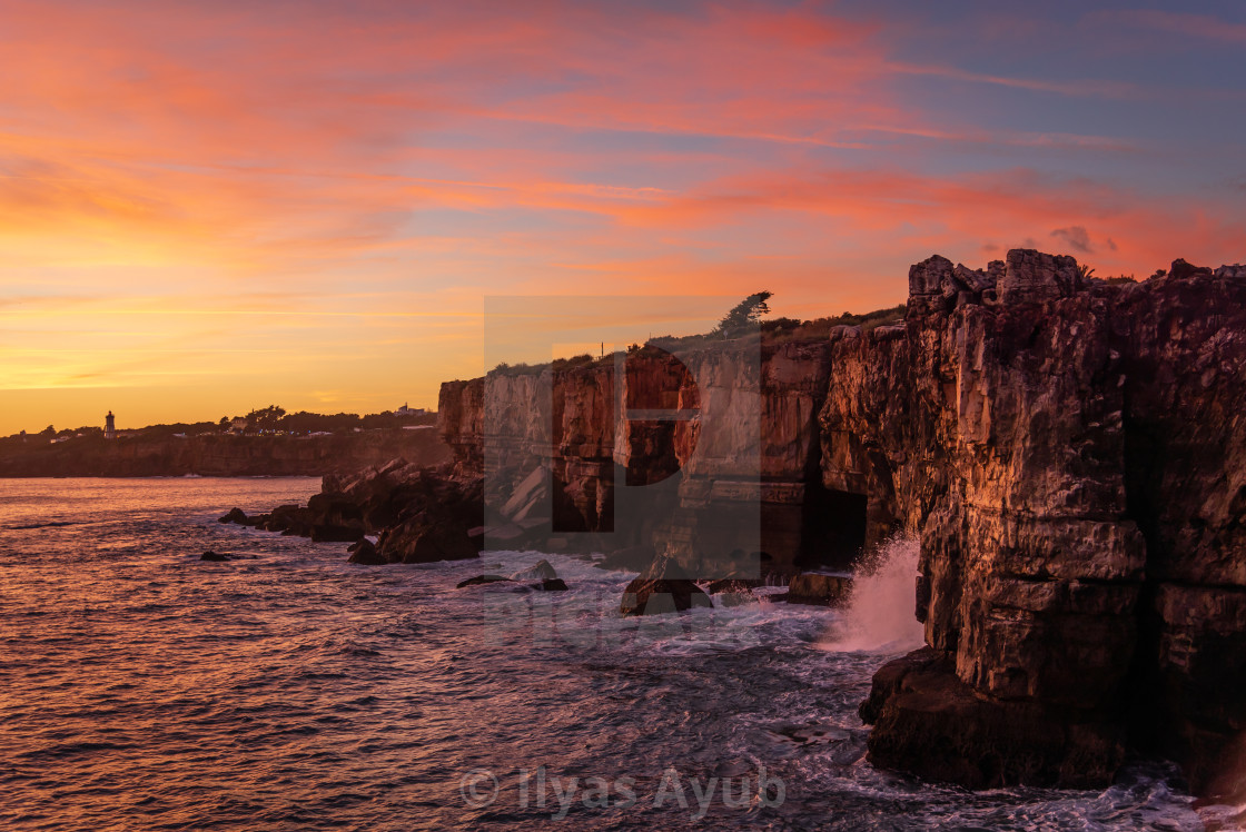 """""""The cliffs at Cascais, a seaside town close to Lisbon, Portugal"""" stock image"""