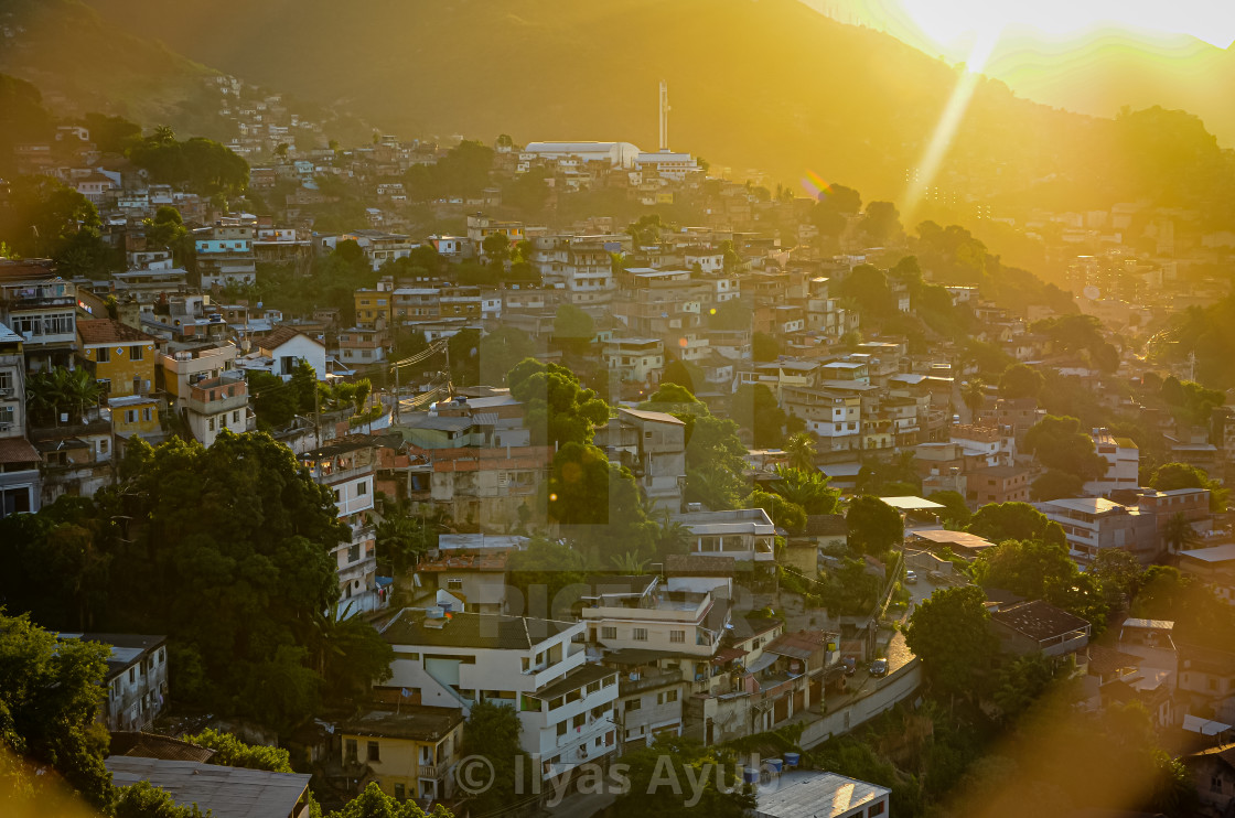 """View of Santa Teresa at sunset, Rio de Janeiro, Brazil"" stock image"