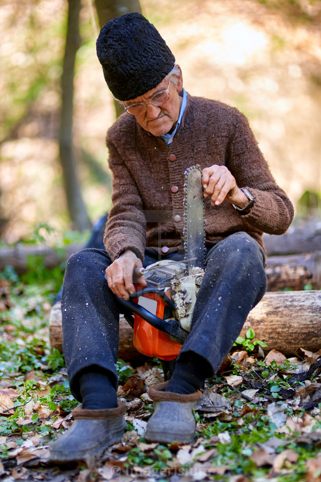 """""""Old man servicing his chainsaw"""" stock image"""
