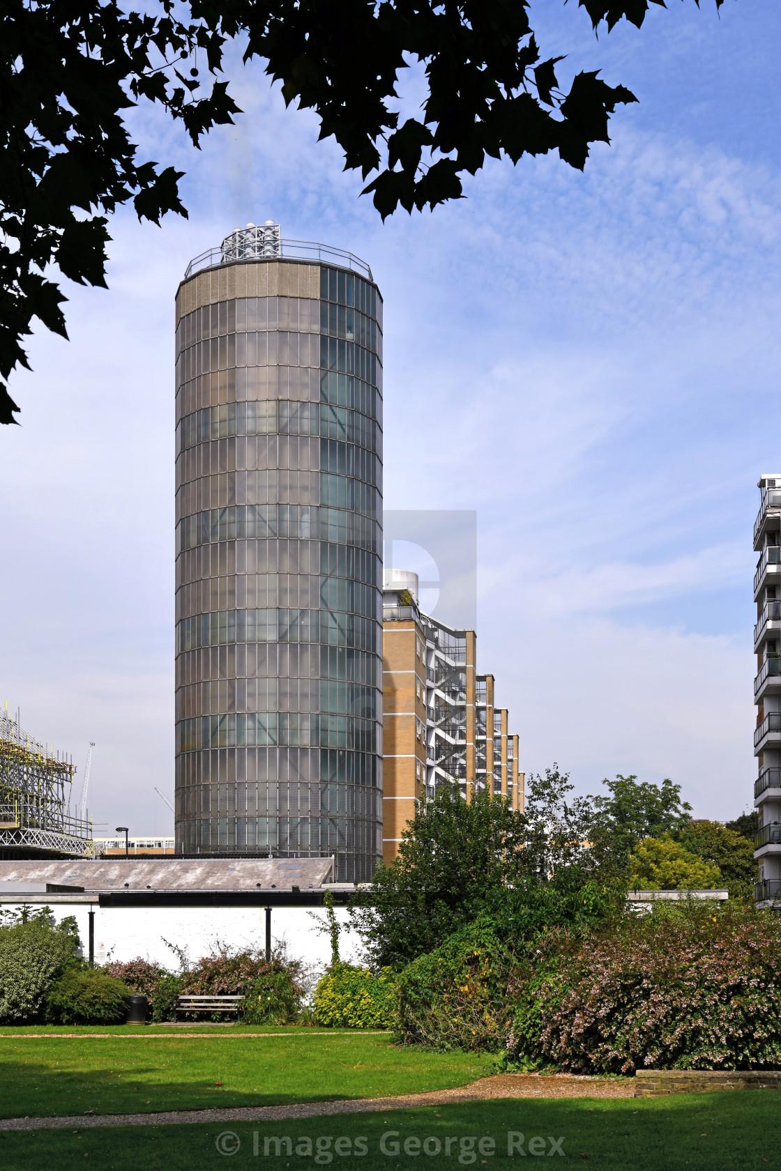 """Accumulator Tower / Churchill Gardens"" stock image"
