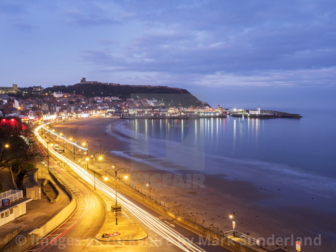 """""""South Bay at Dusk Scarborough"""" stock image"""