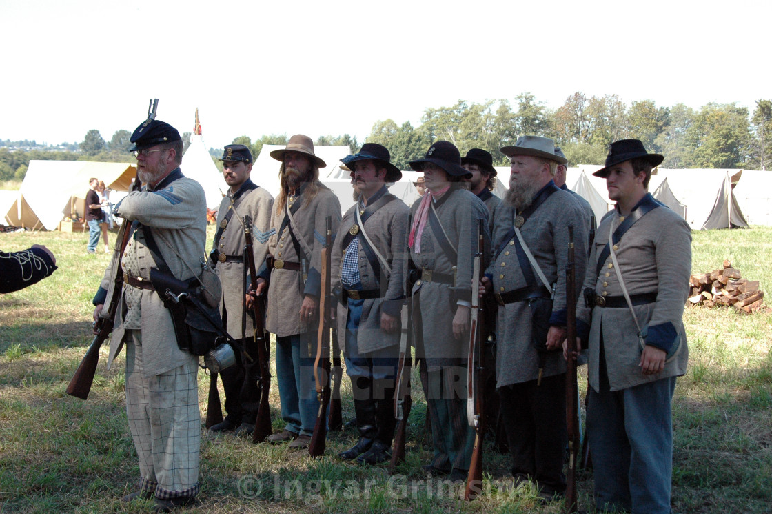 """Civil War Reenactment - Parade before battle"" stock image"