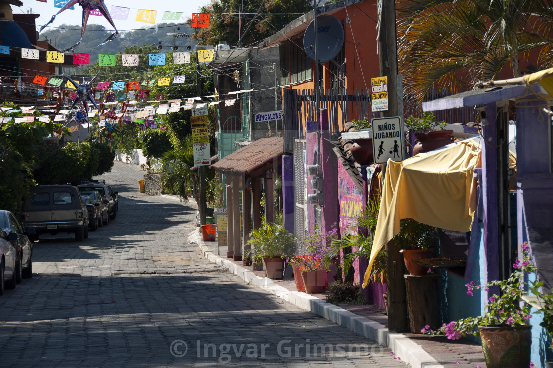"""Street in Zihuatanejo, Mexico"" stock image"