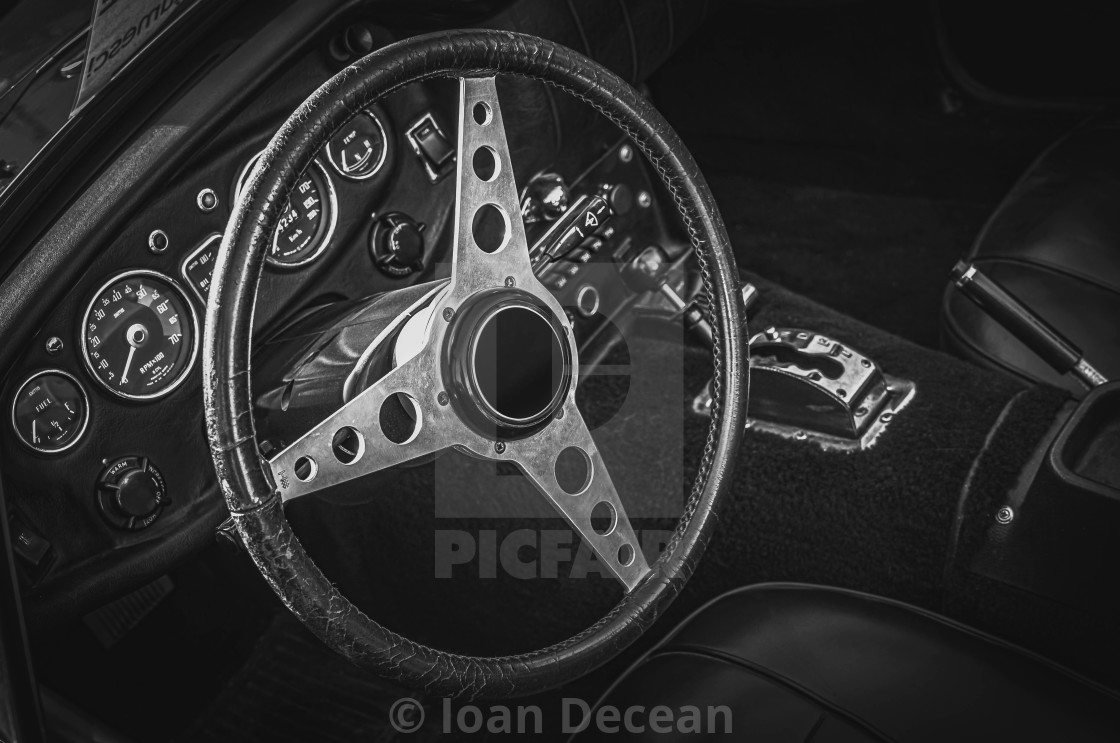 """""""Vintage Old Sport Car Interior Black and White"""" stock image"""