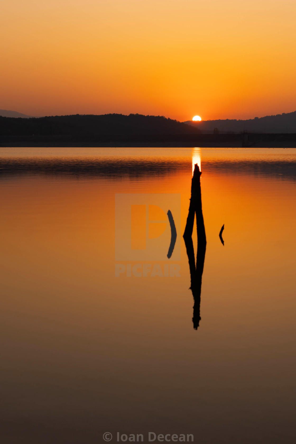 """""""Sunset on the Lake Golden Hour"""" stock image"""