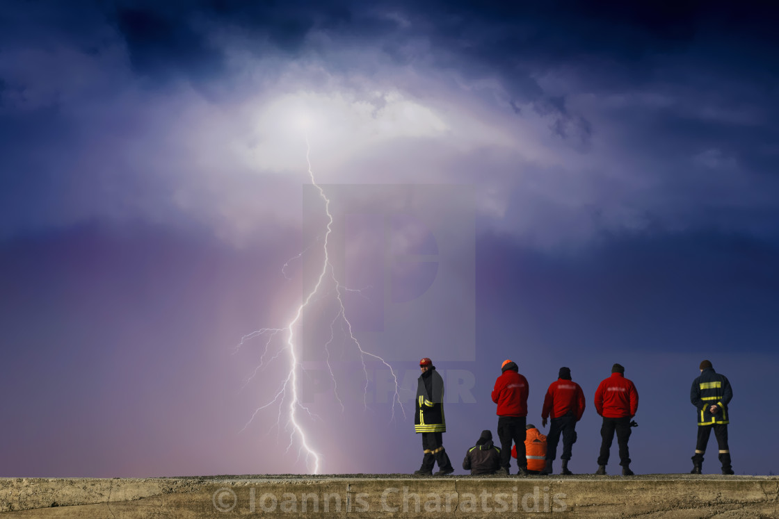 """A thunderstorm at the lake"" stock image"