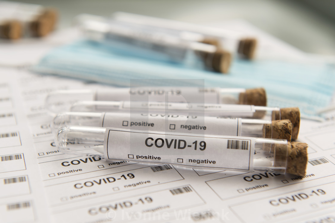 """""""Many covid-19 lots of testing"""" stock image"""