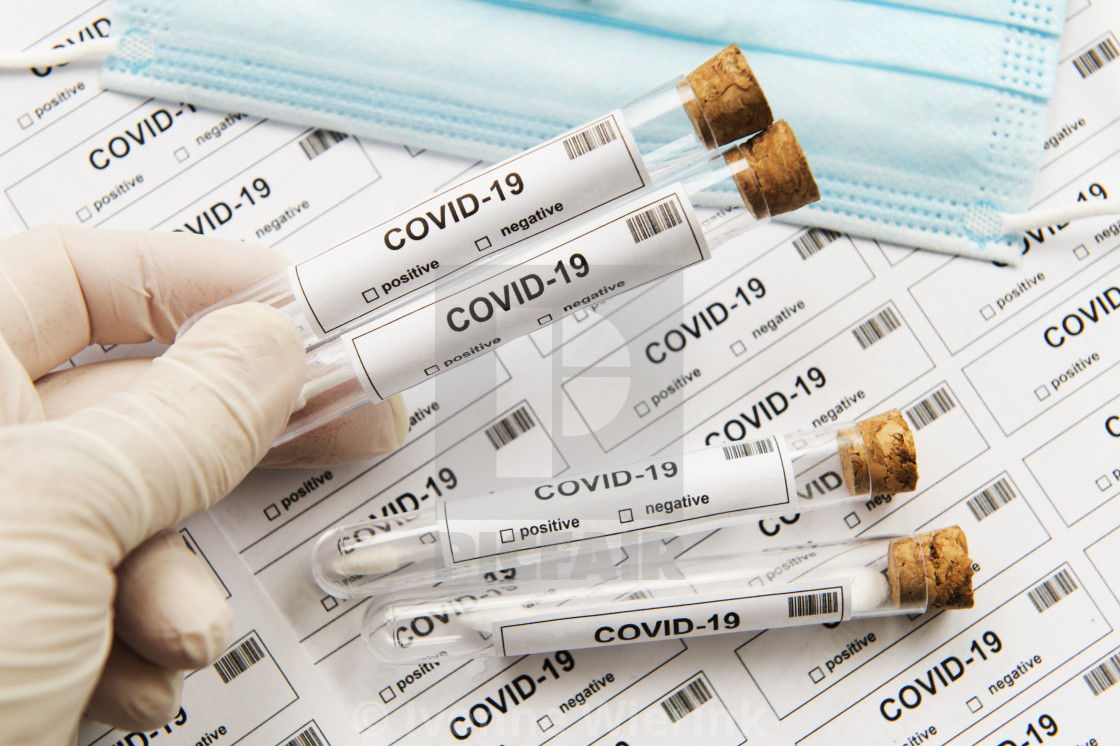 """Many covid-19 lots of testing"" stock image"