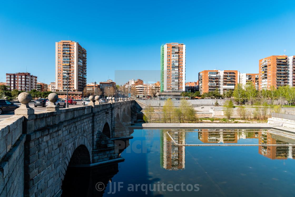 """""""Madrid Rio. Bridge of Segovia and Puerta del Angel quarter"""" stock image"""