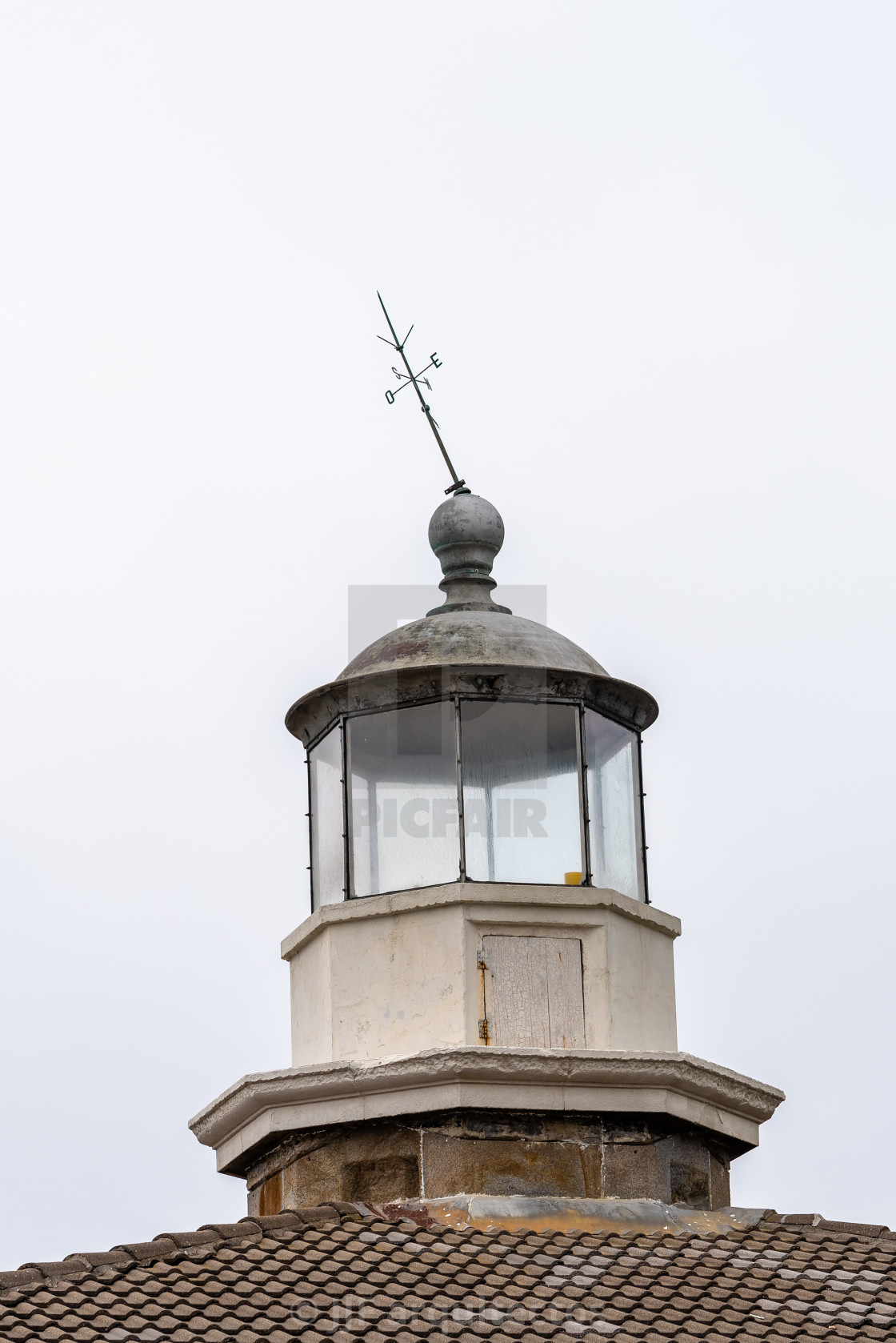 """""""Close Up Detail of the Lantern of a Lighthouse"""" stock image"""