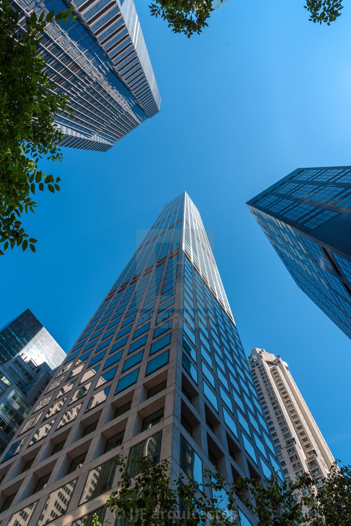 """""""Directly below view of skyscrapers in New York"""" stock image"""