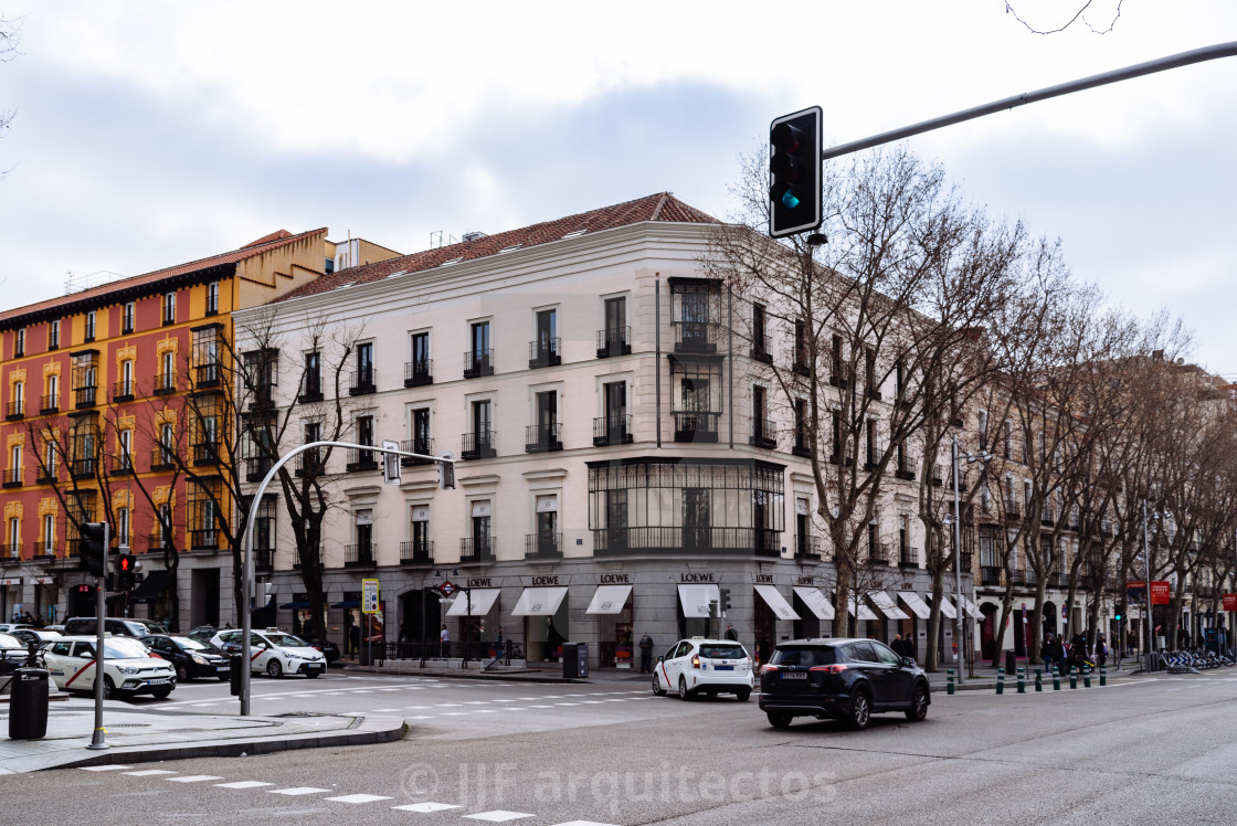 """Serrano Street in Salamanca District in Madrid. Loewe fashion store."" stock image"