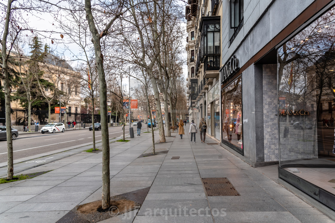 """""""Scenic view of Serrano Street with fashion retail storefronts in Madrid"""" stock image"""