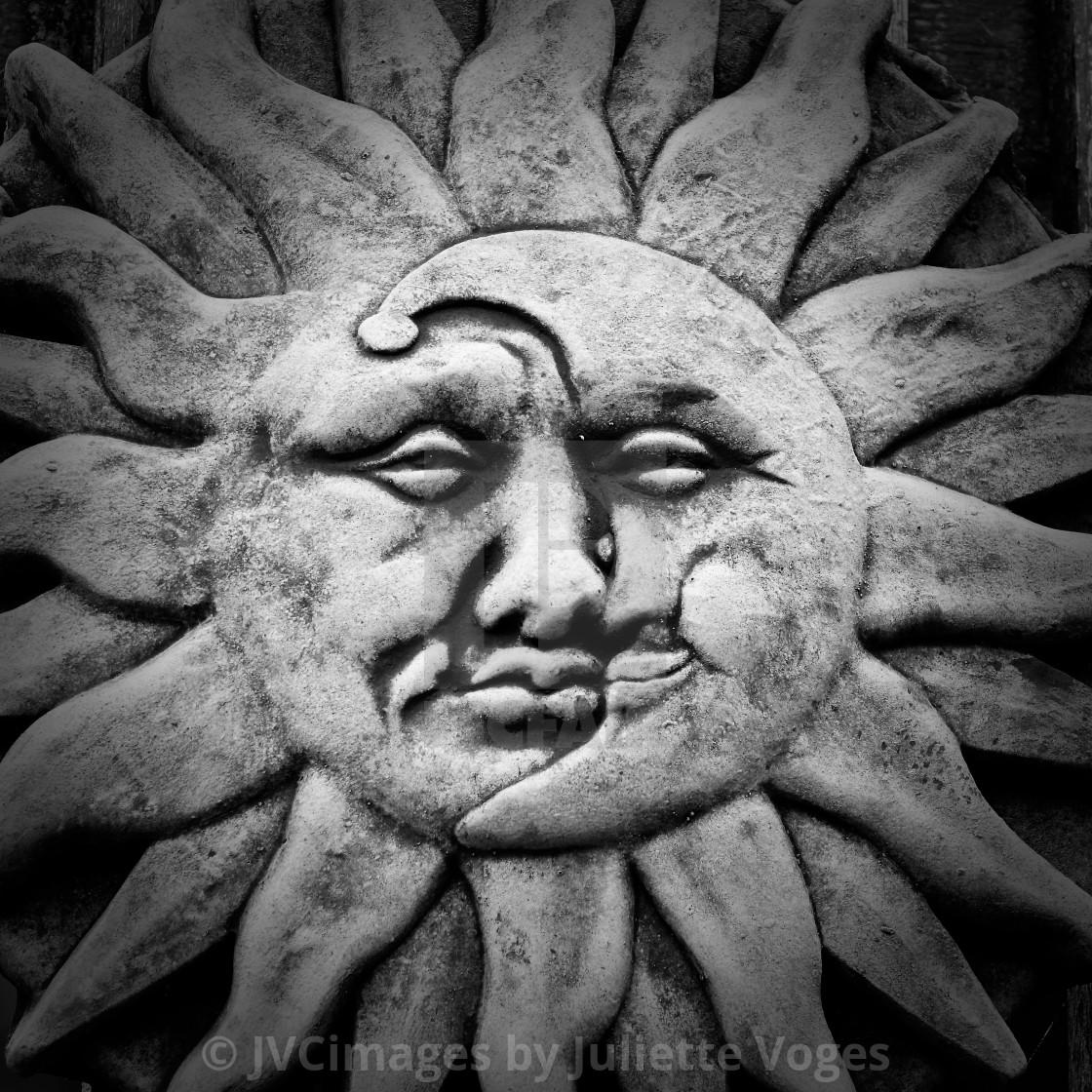 """Sun & Moon Stone Plaque"" stock image"