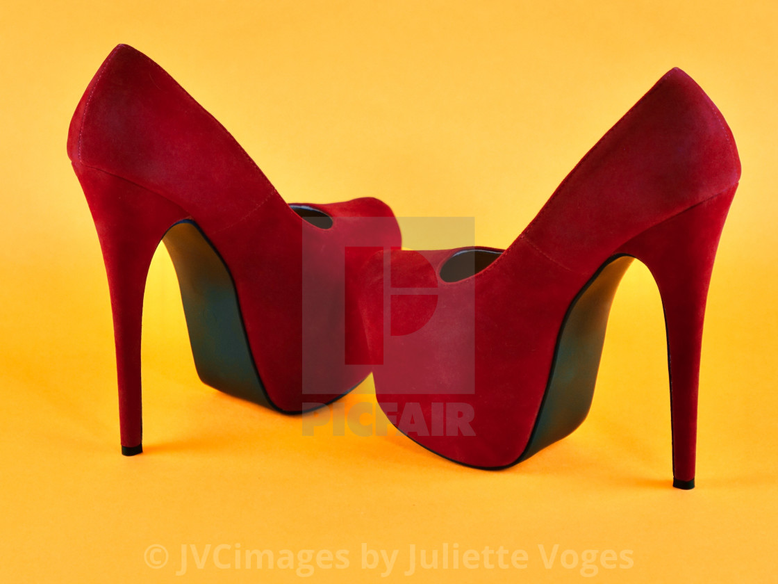 """""""Shoes Stories : Red Suede Stilettos"""" stock image"""