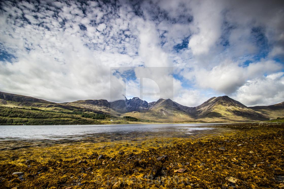 """""""Bla-Bheinn from Loch Slapin."""" stock image"""