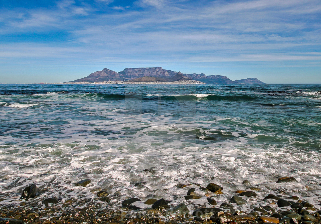 """Cape Town from Robben Island"" stock image"