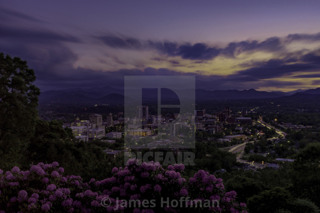 """""""A Summer Evening Over the Land of the Sky"""" stock image"""