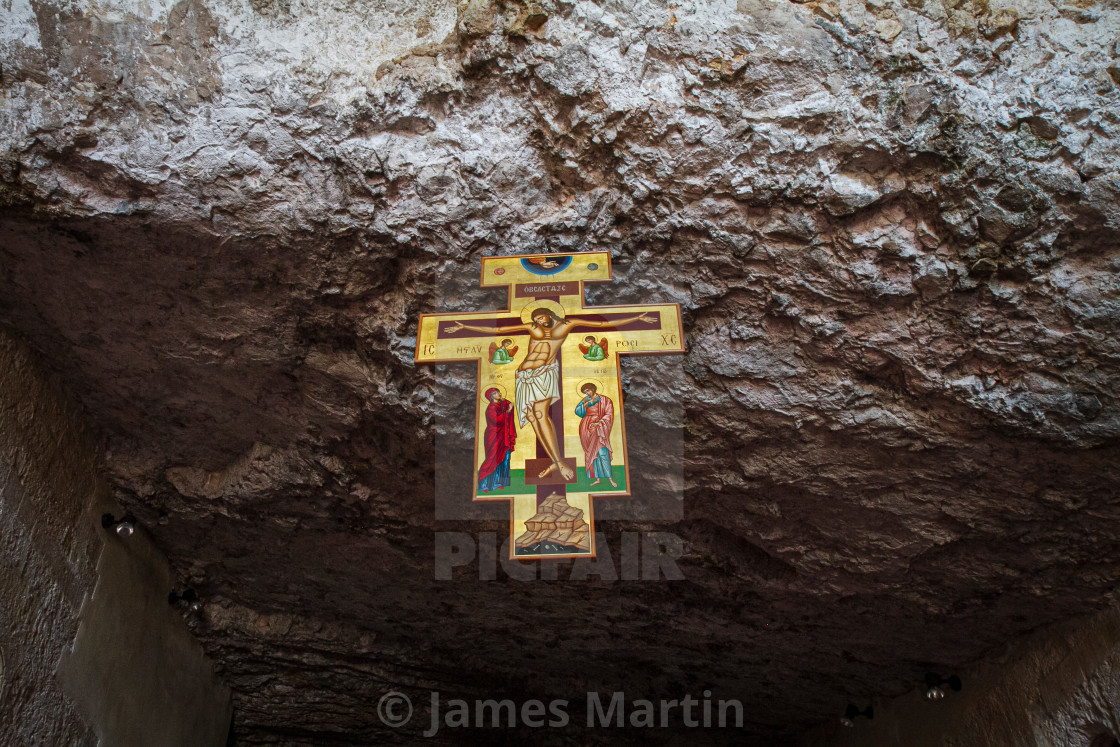 """Byzantine Cross, Abbey of Pulsano"" stock image"