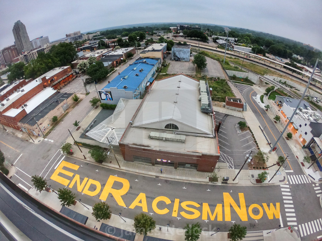 """Raleigh End Racism Now"" stock image"