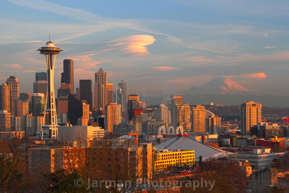 """Horizontal Seattle Skyline in Washington State in Retro Colors"" stock image"