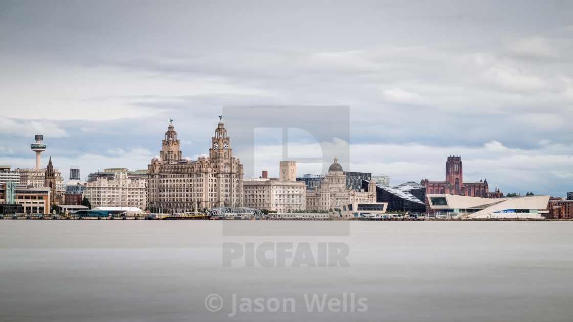 """Letterbox crop of the Liverpool skyline"" stock image"