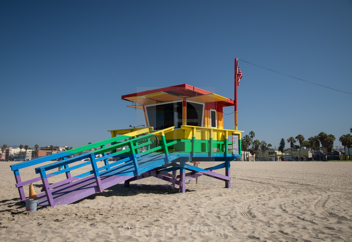 """The Venice Pride Lifeguard Tower"" stock image"