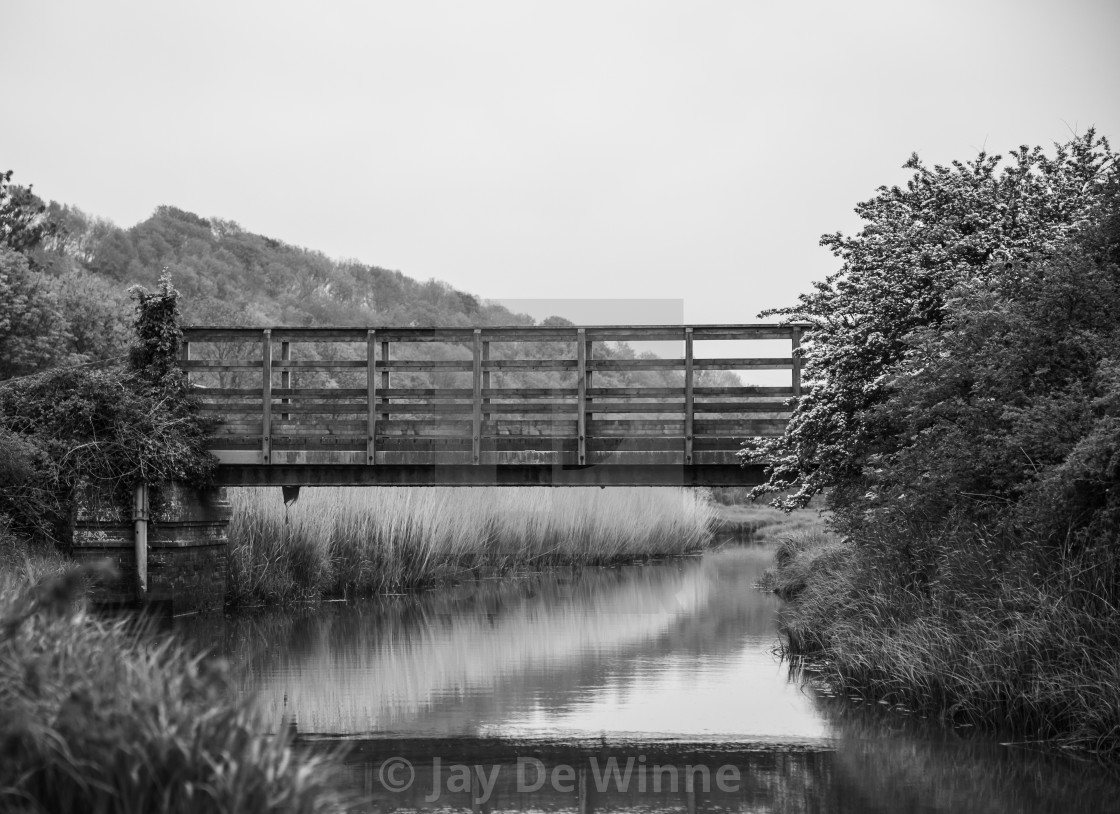 """Bridge Over Untroubled Waters (Black + White)"" stock image"