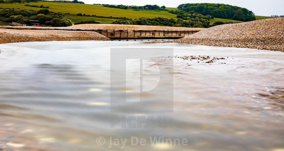 """""""River Cuckmere at low tide at Seven Sisters Country Park, East Sussex, England"""" stock image"""