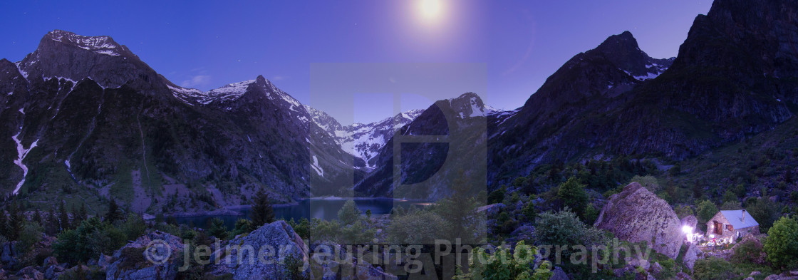 """Panoramic summer evening in the French Alps"" stock image"