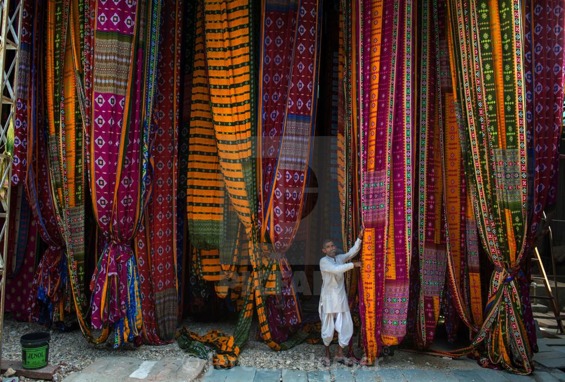 """Saree production in Pali, Rajasthan"" stock image"
